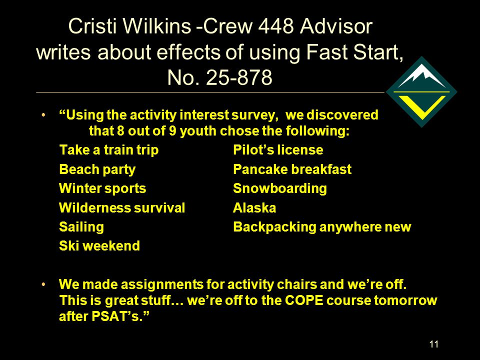 11 Cristi Wilkins -Crew 448 Advisor writes about effects of using Fast Start, No.