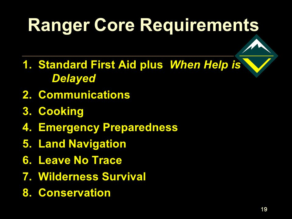 19 Ranger Core Requirements 1.Standard First Aid plus When Help is Delayed 2.