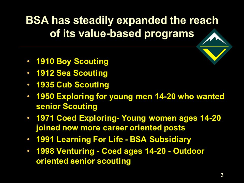 3 BSA has steadily expanded the reach of its value-based programs 1910 Boy Scouting 1912 Sea Scouting 1935 Cub Scouting 1950 Exploring for young men 1