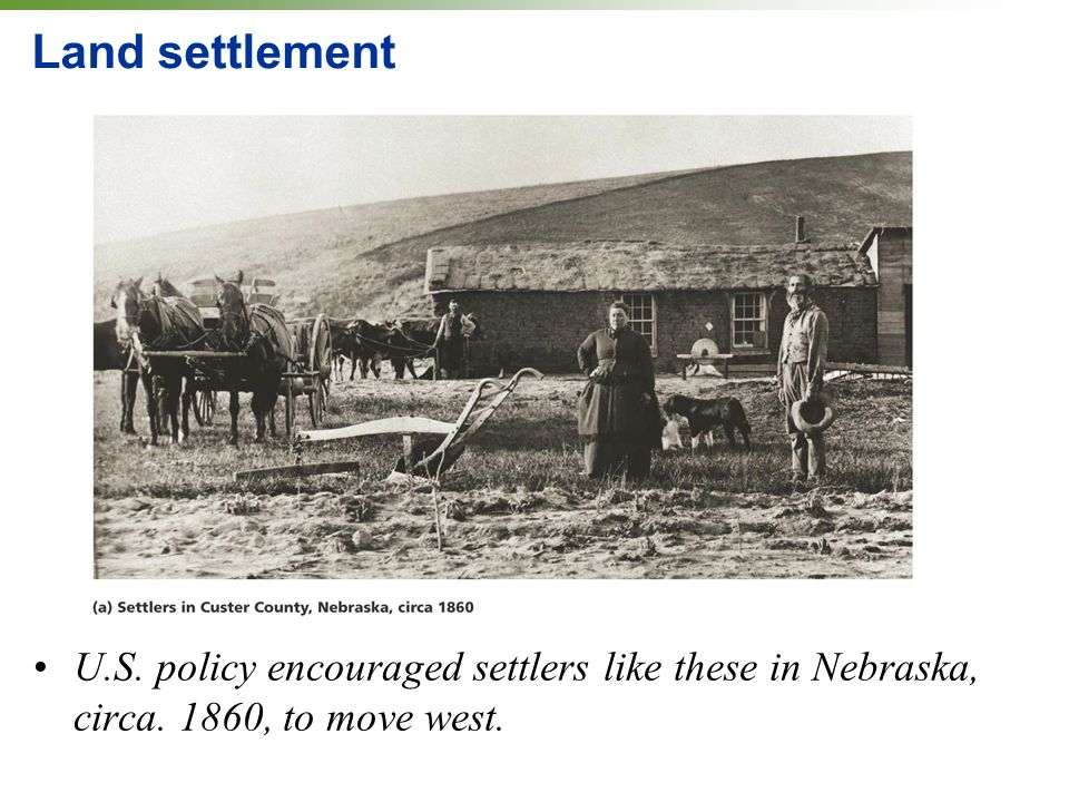 Land settlement U.S. policy encouraged settlers like these in Nebraska, circa. 1860, to move west.