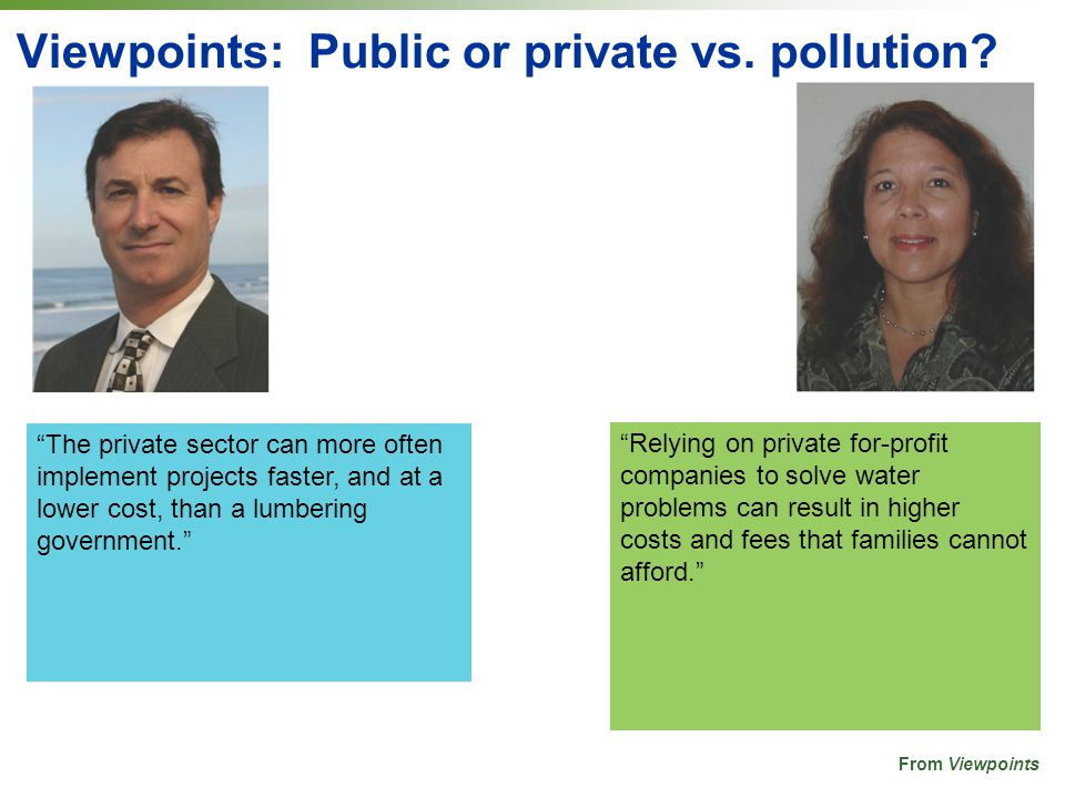 Viewpoints: Public or private vs. pollution.