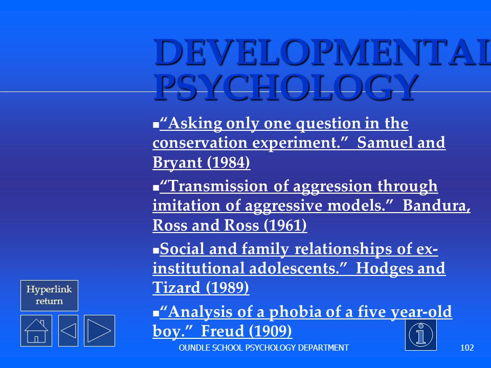 Hyperlink Return OUNDLE SCHOOL PSYCHOLOGY DEPARTMENT 101 The end of this section You may use this slide to start any of the other five presentations o