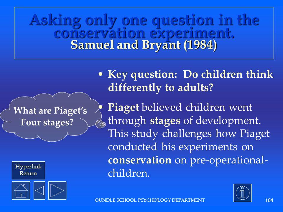Hyperlink Return OUNDLE SCHOOL PSYCHOLOGY DEPARTMENT 103 What is developmental psychology.