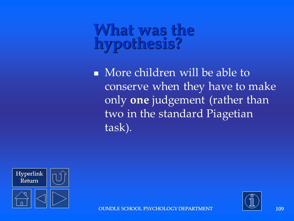 Hyperlink Return OUNDLE SCHOOL PSYCHOLOGY DEPARTMENT 108 What was the dependent variable? The answer to the questions asked. (How many errors the chil