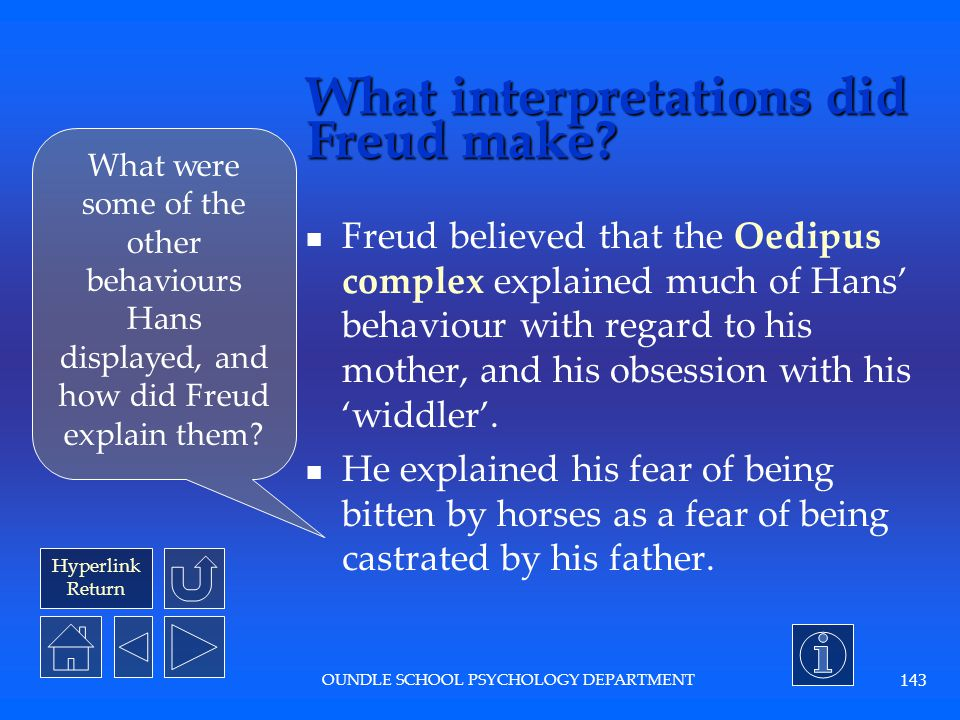 Hyperlink Return OUNDLE SCHOOL PSYCHOLOGY DEPARTMENT 142 What was the procedure? Little Hans' father reported conversations with his son to Freud, and