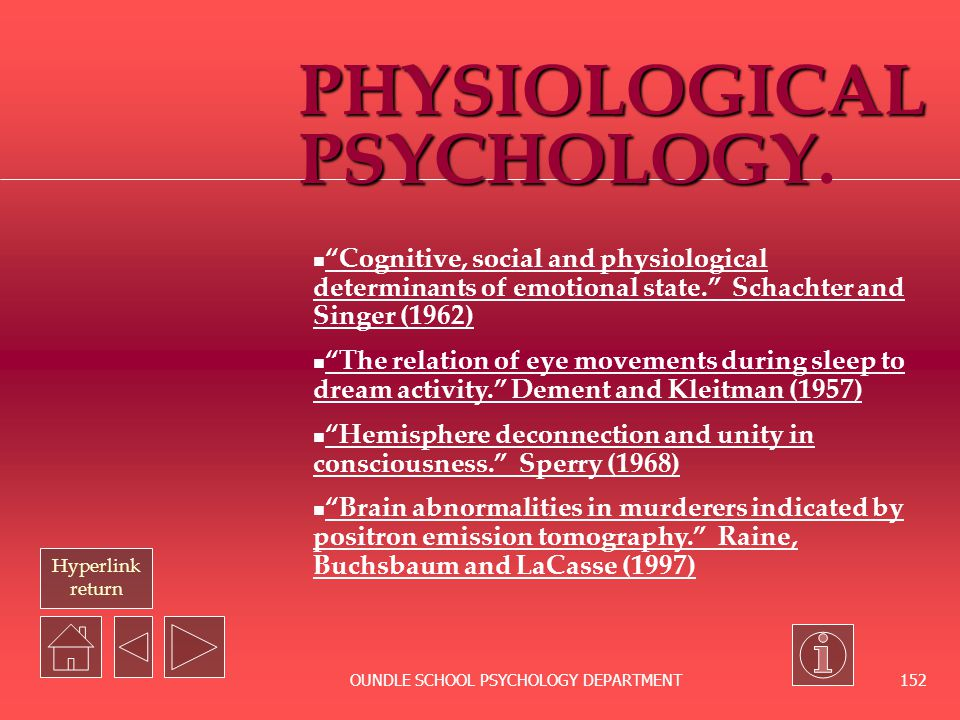 Hyperlink Return OUNDLE SCHOOL PSYCHOLOGY DEPARTMENT 151