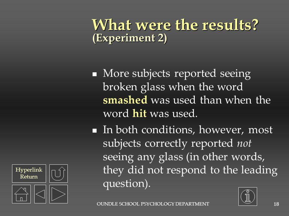 Hyperlink Return OUNDLE SCHOOL PSYCHOLOGY DEPARTMENT 17 What was the procedure.