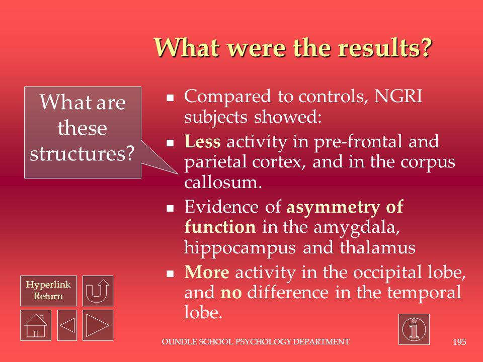 Hyperlink Return OUNDLE SCHOOL PSYCHOLOGY DEPARTMENT 194 What do PET scans look like.