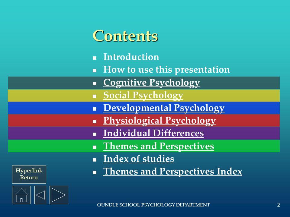 Hyperlink Return OUNDLE SCHOOL PSYCHOLOGY DEPARTMENT 1 AS PSYCHOLOGY REVISION GUIDE Oundle School Psychology Department 2008