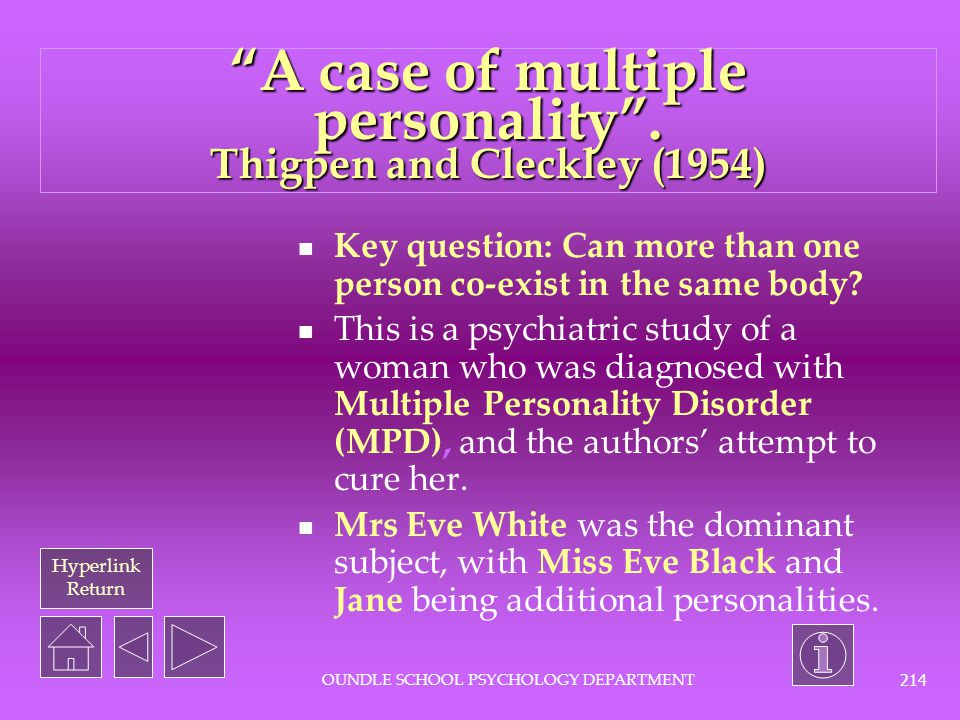 Hyperlink Return OUNDLE SCHOOL PSYCHOLOGY DEPARTMENT 213 Click here to go to past Core 1 questions on Rosenhan here