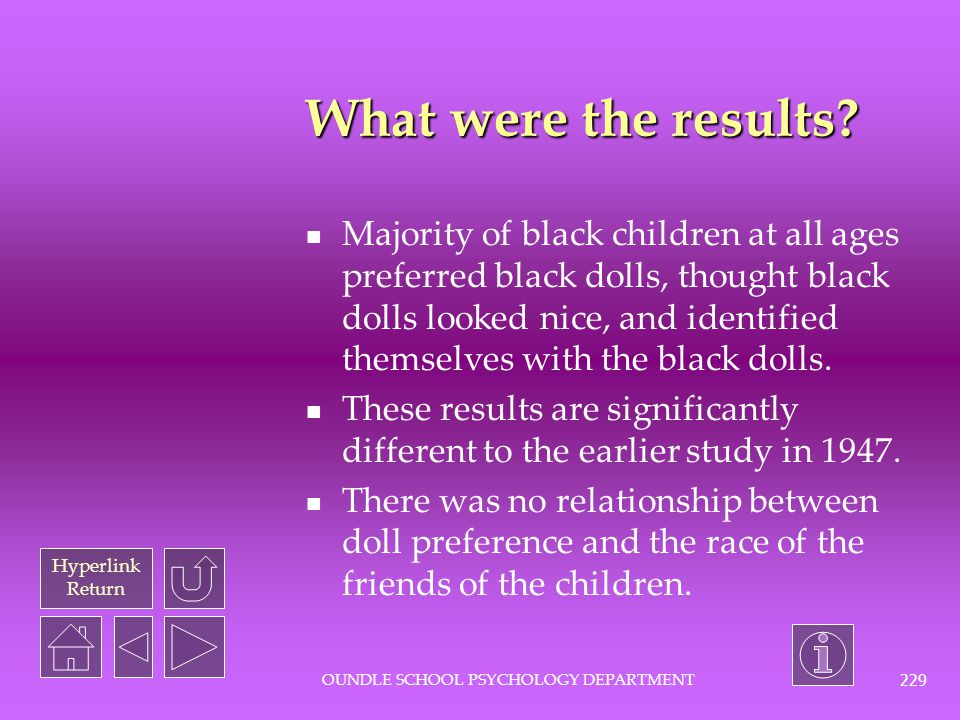Hyperlink Return OUNDLE SCHOOL PSYCHOLOGY DEPARTMENT 228 What was the procedure? Children interviewed individually by either black or white interviewe