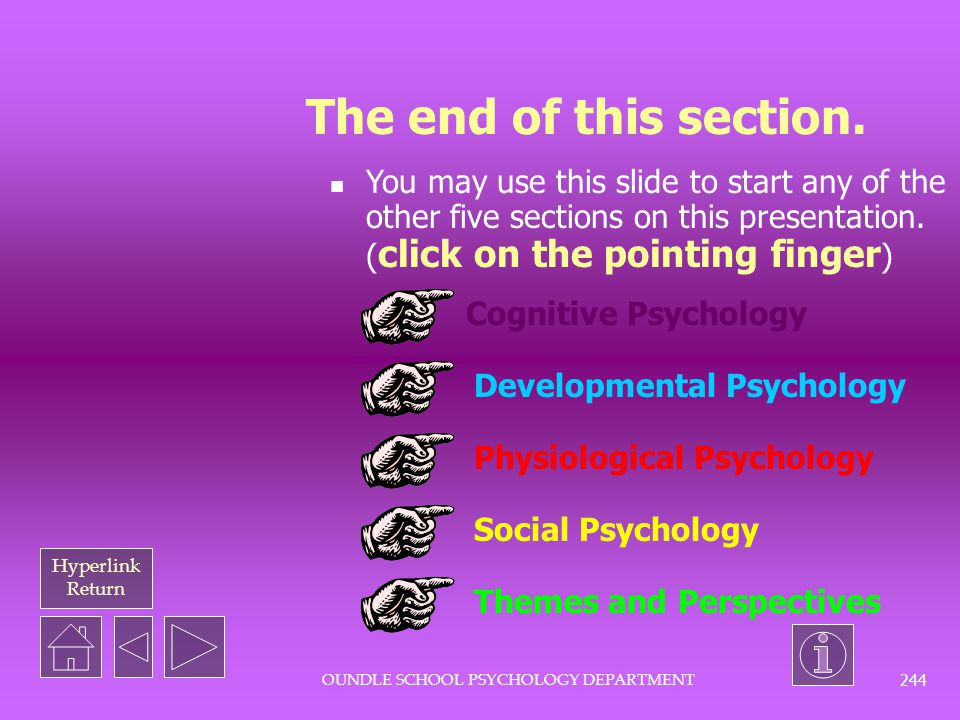 Hyperlink Return OUNDLE SCHOOL PSYCHOLOGY DEPARTMENT 243 Some words or phrases you should know...