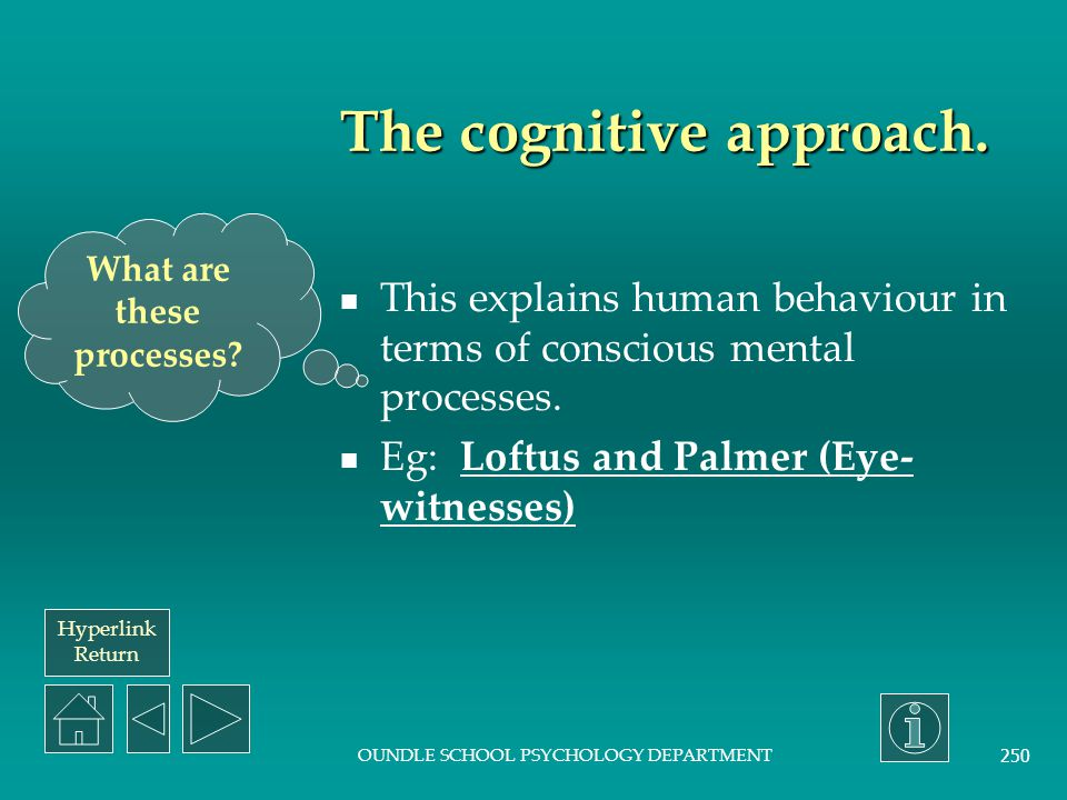 Hyperlink Return OUNDLE SCHOOL PSYCHOLOGY DEPARTMENT 249 The biological (or physiological) approach. The primary focus of this is that humans are biol