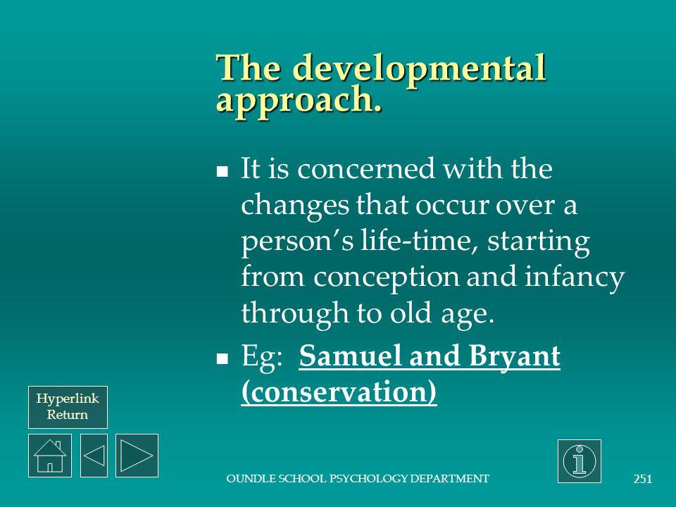 Hyperlink Return OUNDLE SCHOOL PSYCHOLOGY DEPARTMENT 250 The cognitive approach.