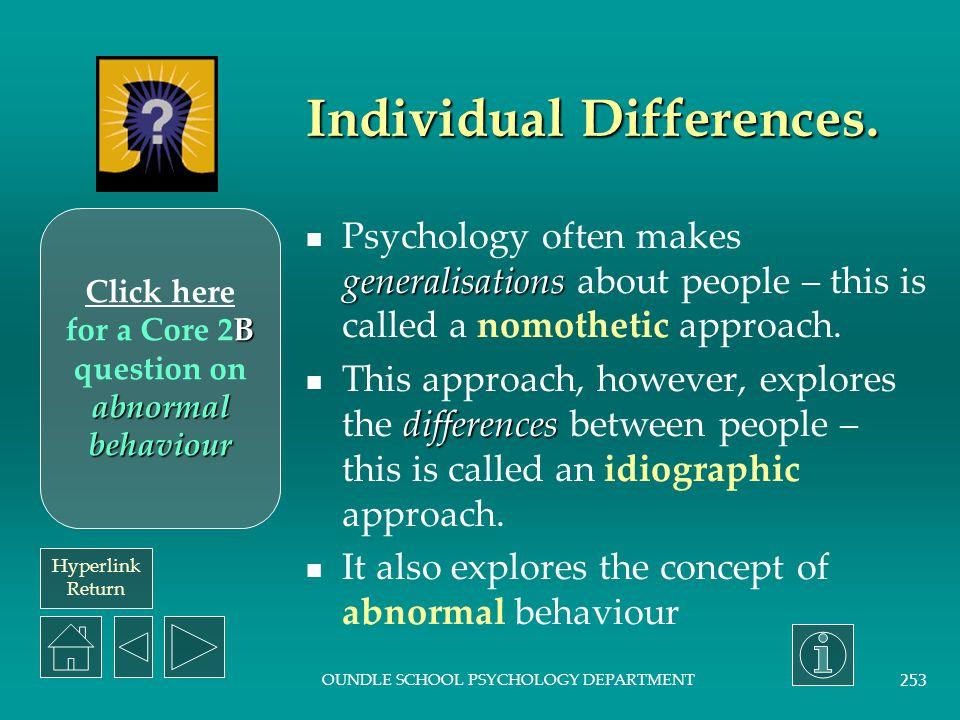Hyperlink Return OUNDLE SCHOOL PSYCHOLOGY DEPARTMENT 252 Social approach.