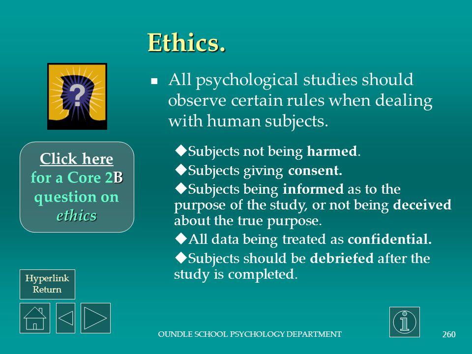 Hyperlink Return OUNDLE SCHOOL PSYCHOLOGY DEPARTMENT 259 Ecological validity.