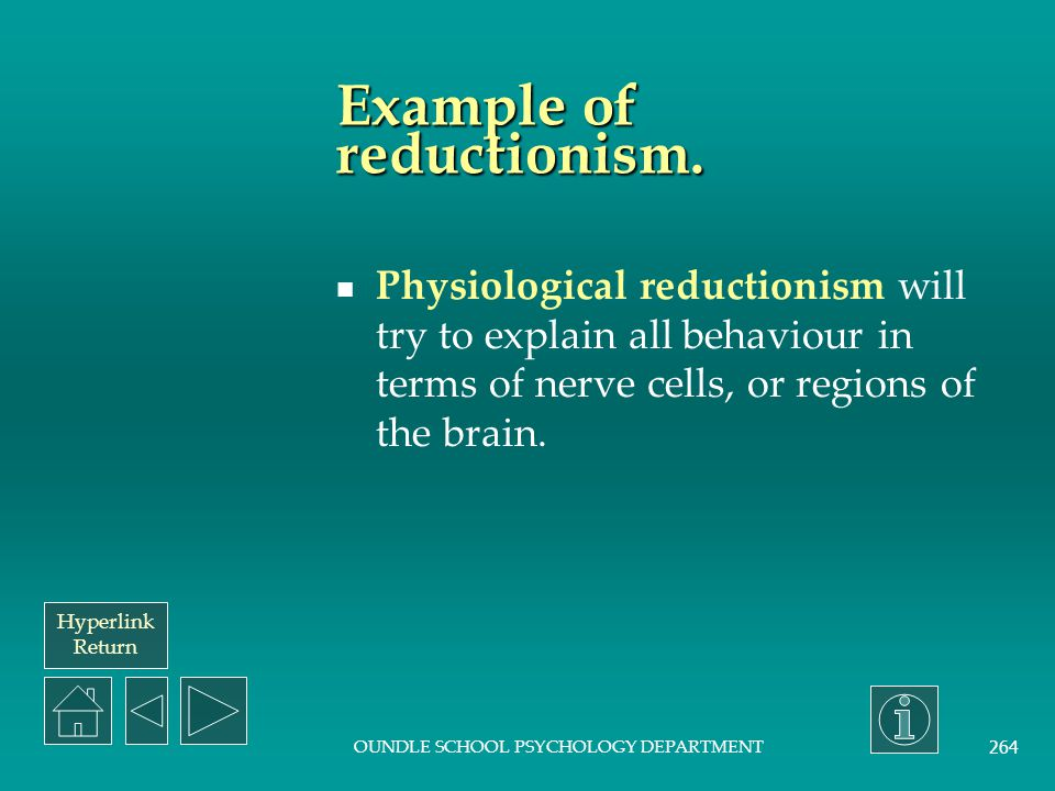 Hyperlink Return OUNDLE SCHOOL PSYCHOLOGY DEPARTMENT 263 Reductionism.