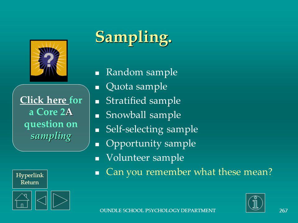 Hyperlink Return OUNDLE SCHOOL PSYCHOLOGY DEPARTMENT 266 Methodology.