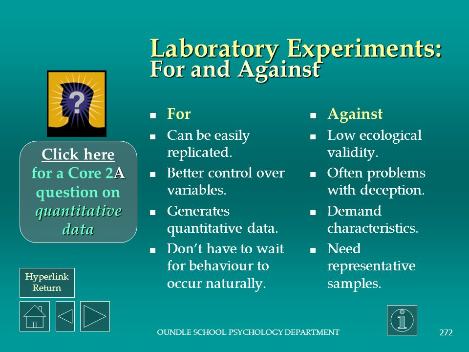 Hyperlink Return OUNDLE SCHOOL PSYCHOLOGY DEPARTMENT 271 Laboratory experiments: Description The independent variable is manipulated to observe the effect on the dependent variable.