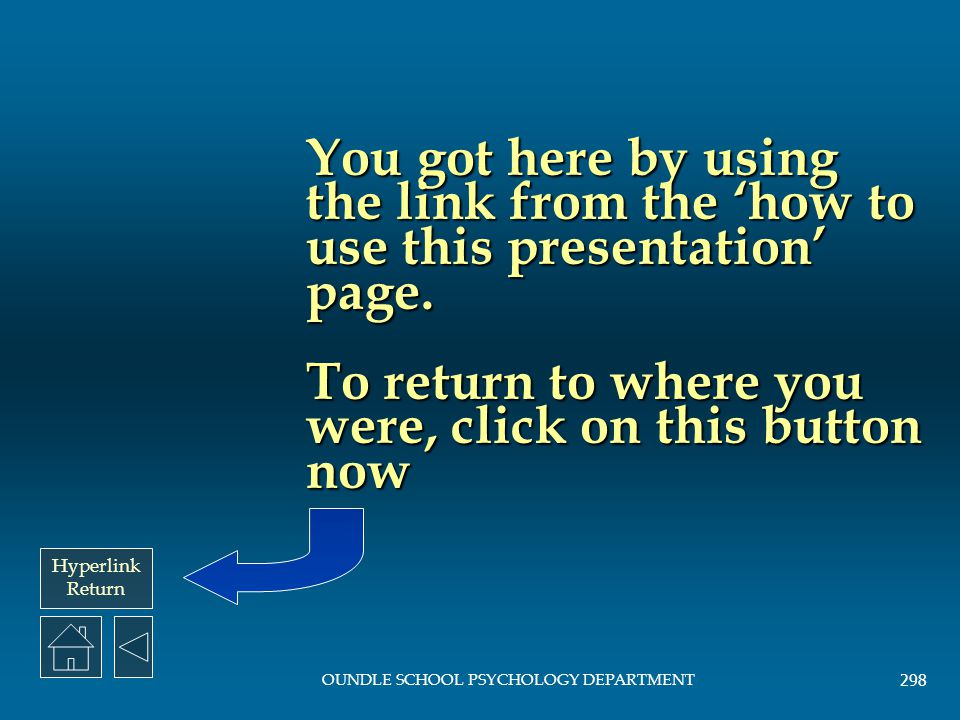 Hyperlink Return OUNDLE SCHOOL PSYCHOLOGY DEPARTMENT 297 Study Index Bandura, Ross and Ross (1961) Bandura, Ross and Ross (1961) Baron-Cohen, Leslie a