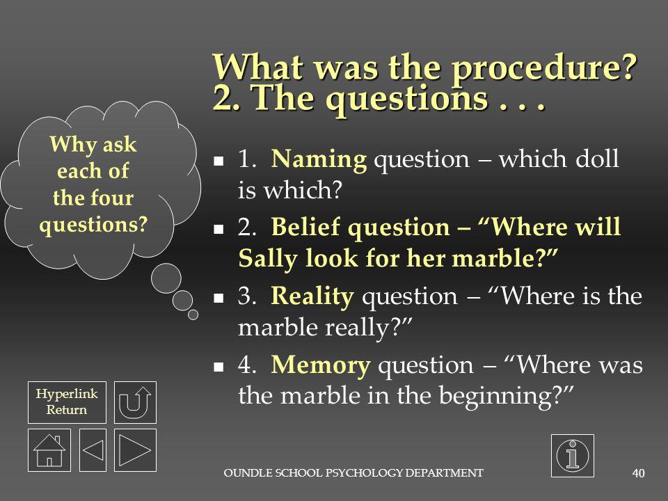 Hyperlink Return OUNDLE SCHOOL PSYCHOLOGY DEPARTMENT 39 What was the procedure.