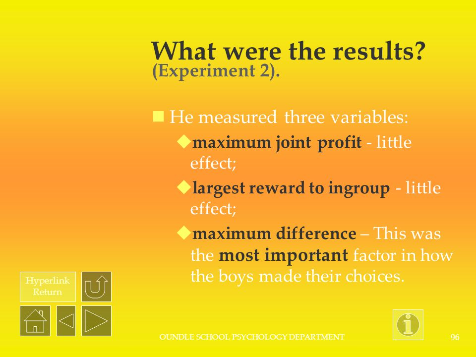 Hyperlink Return OUNDLE SCHOOL PSYCHOLOGY DEPARTMENT 95 What were the results? (Experiment 1). The majority of boys gave more money to members of thei