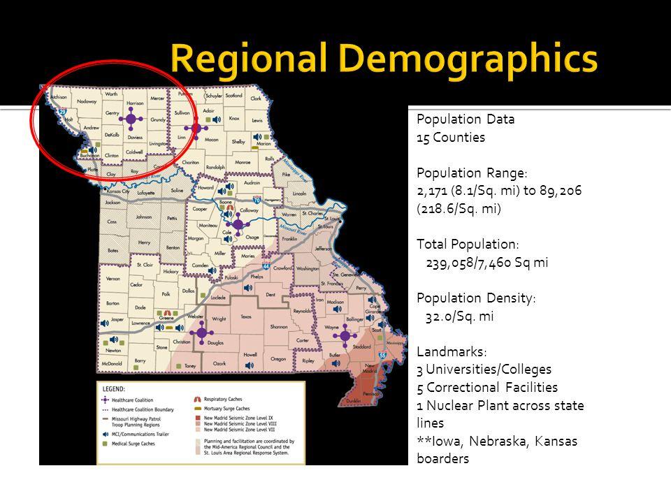 Population Data 15 Counties Population Range: 2,171 (8.1/Sq.