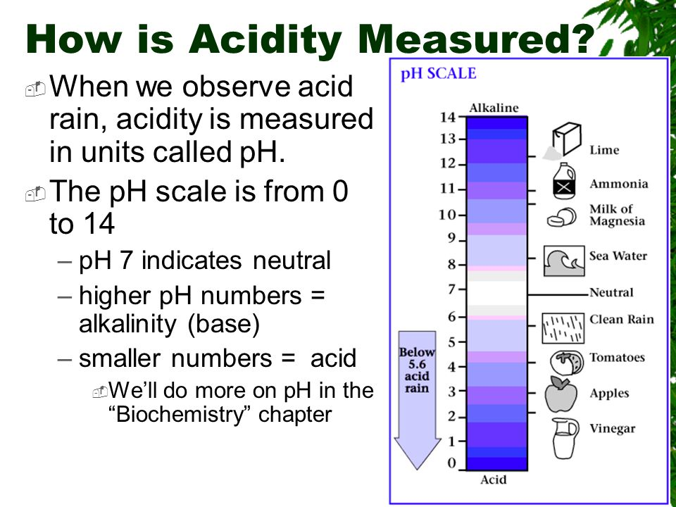 How is Acidity Measured.  When we observe acid rain, acidity is measured in units called pH.