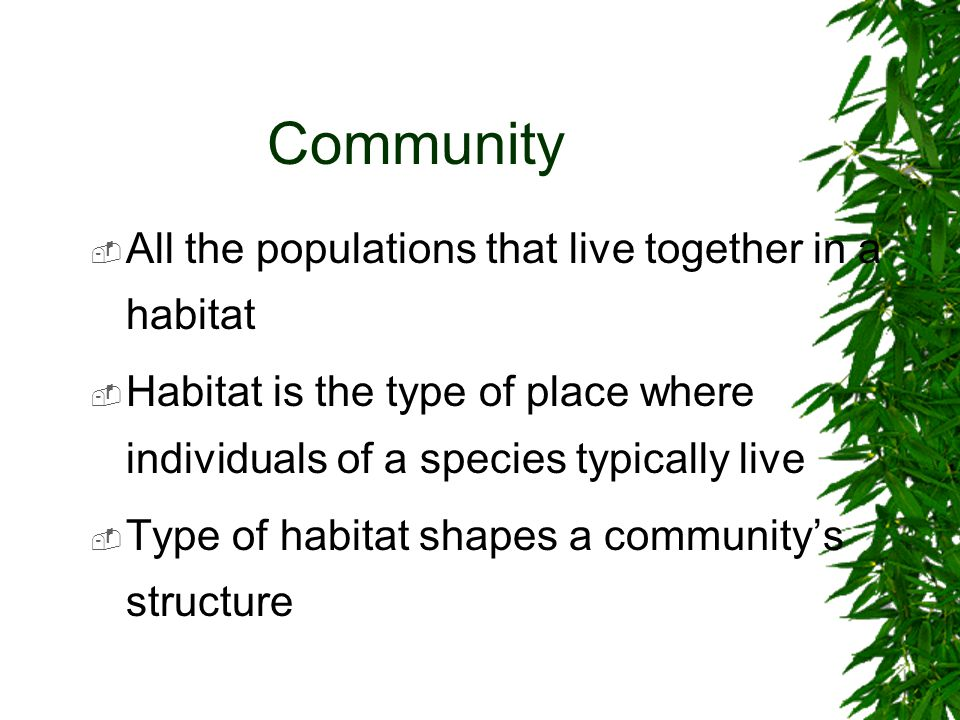 Community  All the populations that live together in a habitat  Habitat is the type of place where individuals of a species typically live  Type of habitat shapes a community's structure