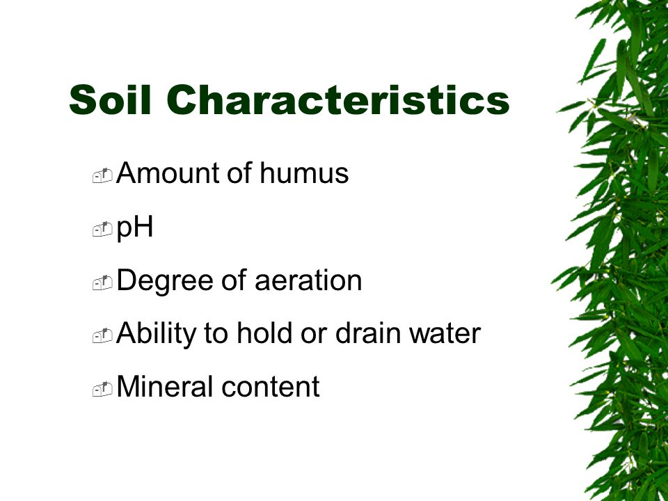 Soil Characteristics  Amount of humus  pH  Degree of aeration  Ability to hold or drain water  Mineral content
