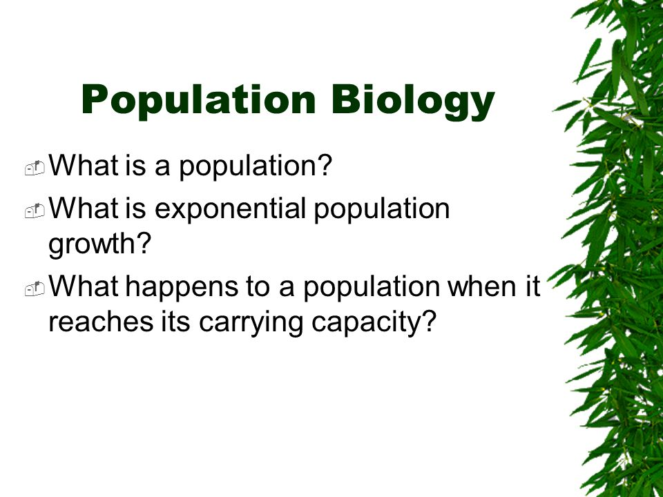 Population Biology  What is a population.  What is exponential population growth.