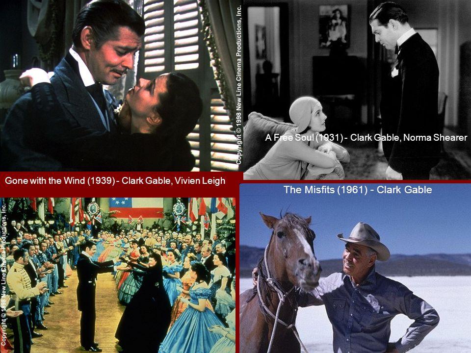 克拉克.蓋博是好萊塢第一個獲得來自全美洲影迷自由票選出的正式的電影皇帝,選票高達二百萬之 多。他能稱霸影壇,主要得力於千萬女影迷的支持,他充滿性感魅力的鬍子和帶著邪氣大男人味的微 笑,幾乎是讓全天下女性無法抗拒的利器。而他的銀幕戲劇生涯也和他的 5 段婚姻和數不清的情婦脫 離不了關係。克拉克.蓋博的演藝生涯初期並不順遂,常在一些二流影片中跑龍套,但他總是能把握 每次演出機會,盡力做出最佳表現。真正讓他大紅大紫的影片是一部低成本的浪漫喜劇《一夜風流》 ( It Happened One Night ),之後在《亂世佳人》( Gone with the Wind )中演出白瑞德讓他獲得真 正的成功和掌聲。一生風流倜儻的他還在拍攝《亂世佳人》的空檔和他最後的真愛女演員卡洛琳.白 ( (Carole Lombard) 開車到好萊塢 300 哩外的小鎮註冊結婚。正當他沉醉在真正的愛情歸宿中,珍珠 港事變爆發,他愛國的妻子回到故鄉印第安那州參加愛國公債推銷、演說和演講,卻在搭機趕回家和 蓋博相聚時,飛機失事。自此之後他性情大變,蓋博決定從軍報國,完成愛妻遺志。他於 1960 年因 心臟病發去世,遺作為與瑪麗蓮夢露合演的( Marilyn Monroe )《亂點鴛鴦譜》( The Misfits )。 主要作品: 《一夜風流》 (IT HAPPENED ONE NIGHT)(1934) ,第七屆奧斯卡金像獎最佳男主角。 《叛艦喋血記》 (MUTINY ON THE BOUNTY)(1935) ,第八屆奧斯卡金像獎最佳男主角提名。 《亂世佳人》 (GONE WITH THE WINE)(1939) 第十二屆奧斯卡金像獎最佳男主角提名。 《紅色的塵土》 (RED DUST)(1932) 《亂點鴛鴦譜》 《不合時宜的人》 (THE MISFITS)(1961)------------