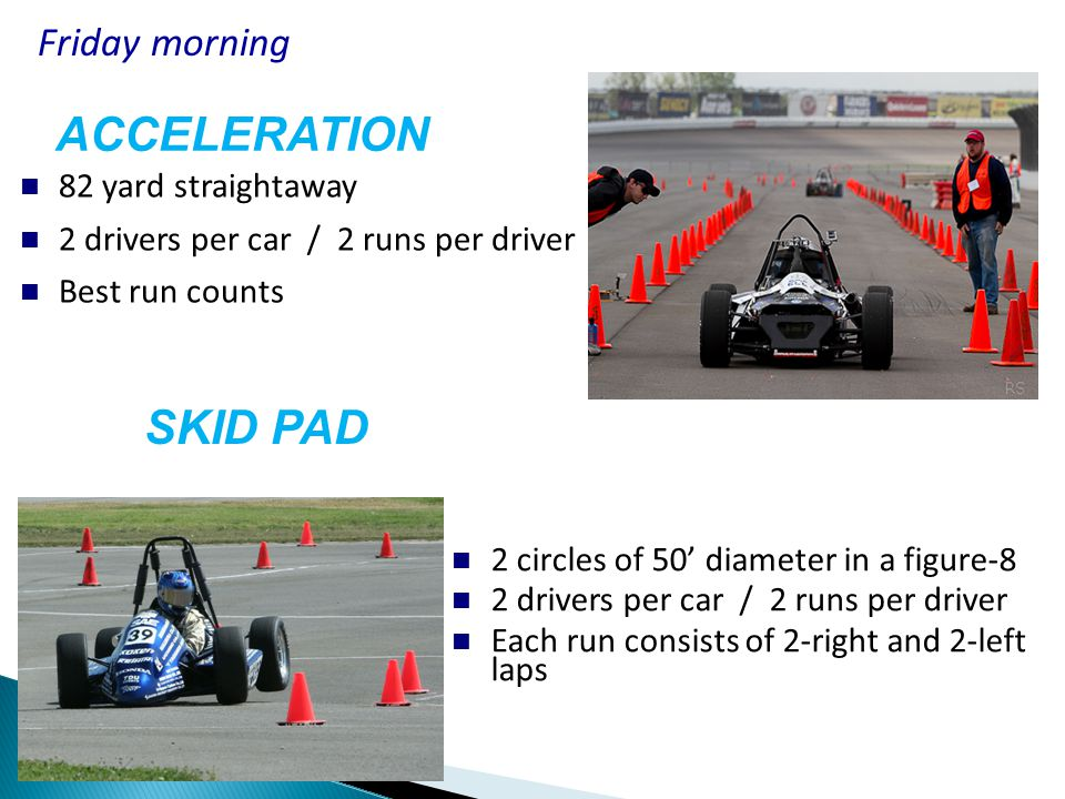 Course Length = approx ½ mile 2 drivers per car / 2 laps per driver Typically 3-4 cars on the track concurrently No passing in this solo event Avg Speeds = 35 to 40 MPH AUTOCROSS