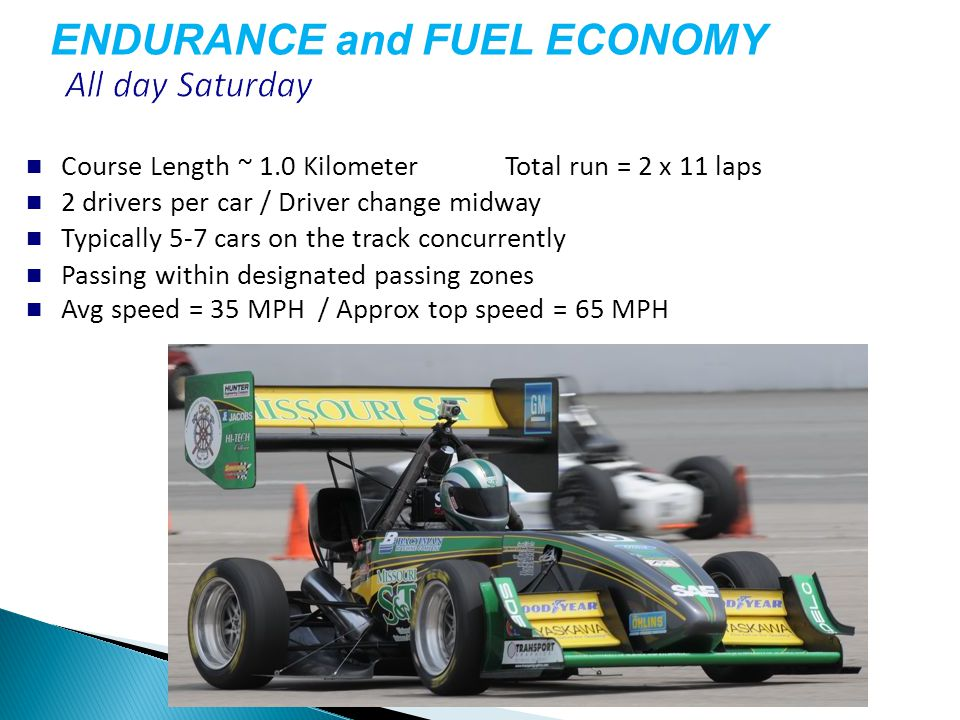 Course Length ~ 1.0 KilometerTotal run = 2 x 11 laps 2 drivers per car / Driver change midway Typically 5-7 cars on the track concurrently Passing within designated passing zones Avg speed = 35 MPH / Approx top speed = 65 MPH ENDURANCE and FUEL ECONOMY