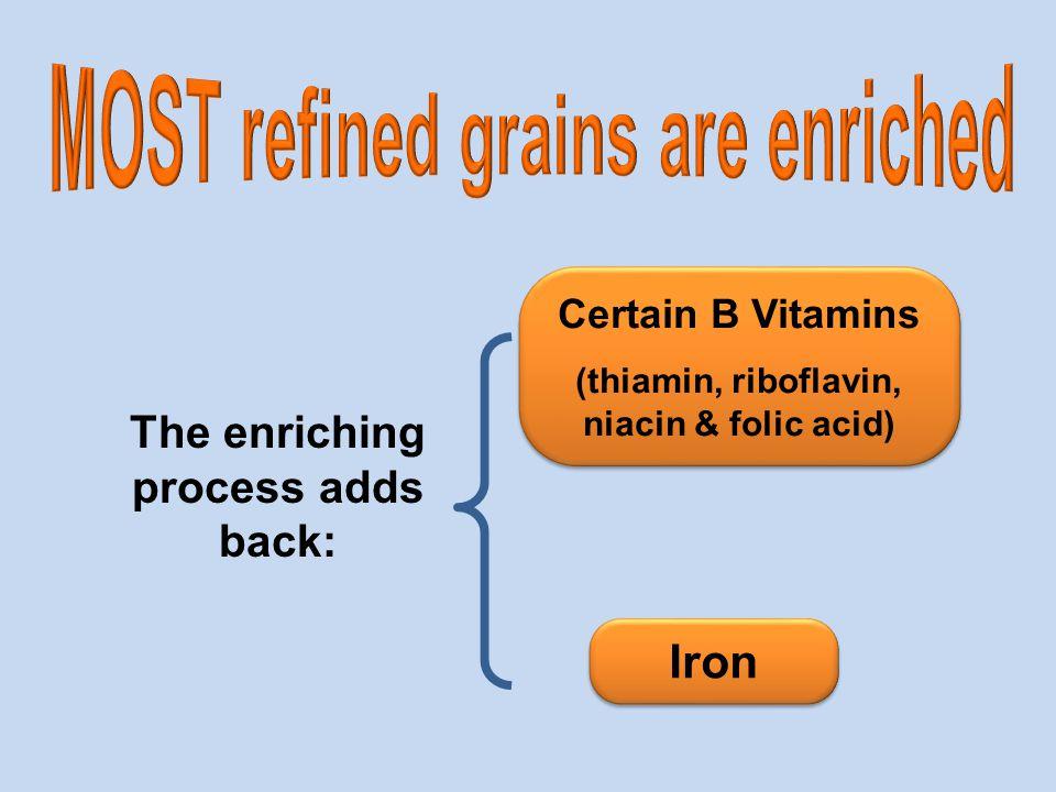Certain B Vitamins (thiamin, riboflavin, niacin & folic acid) Certain B Vitamins (thiamin, riboflavin, niacin & folic acid) The enriching process adds back: Iron