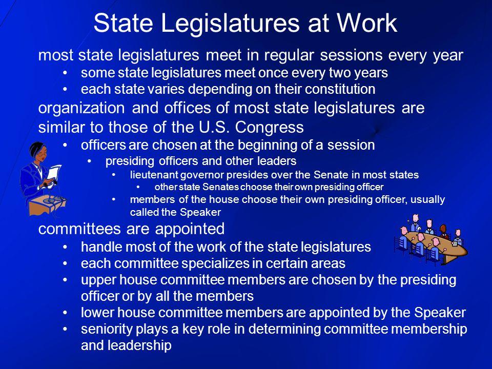 most state legislatures meet in regular sessions every year some state legislatures meet once every two years each state varies depending on their con