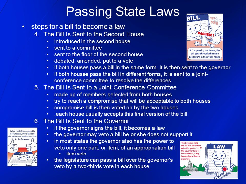 steps for a bill to become a law 4.The Bill Is Sent to the Second House introduced in the second house sent to a committee sent to the floor of the se