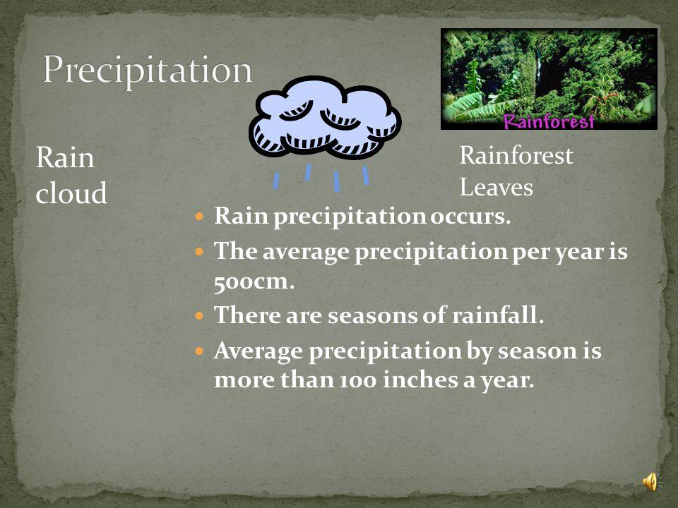 Rain precipitation occurs.The average precipitation per year is 500cm.