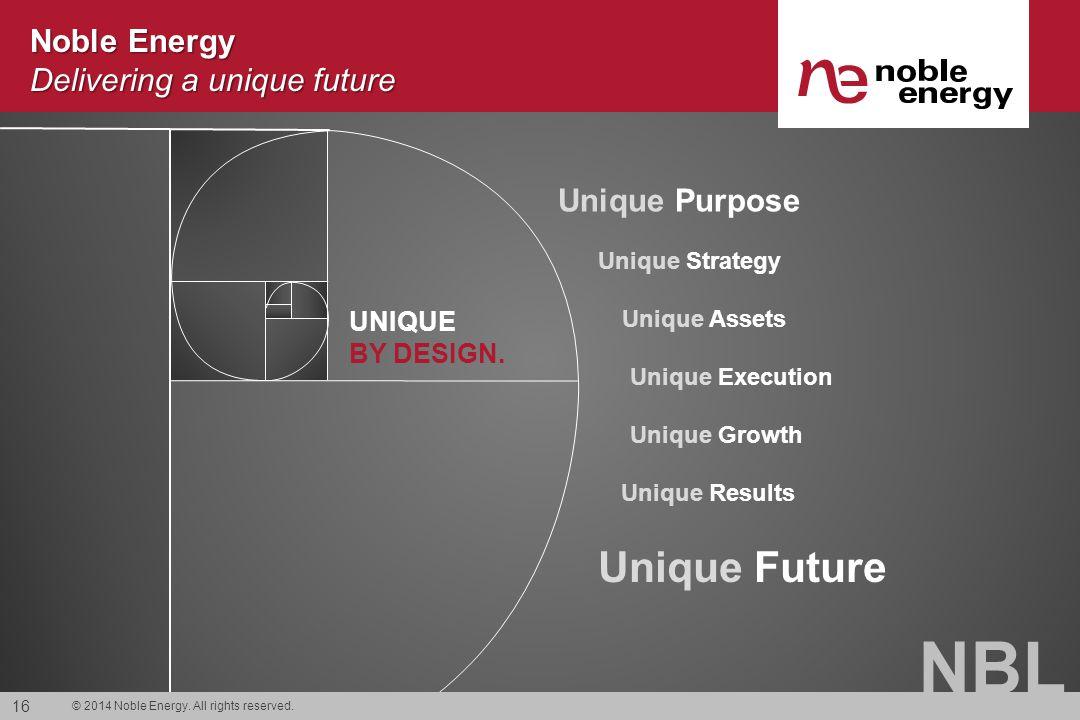 NBL Noble Energy Delivering a unique future UNIQUE BY DESIGN. Unique Purpose Unique Strategy Unique Assets Unique Execution Unique Growth Unique Resul