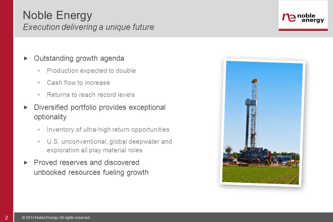 Noble Energy Execution delivering a unique future  Outstanding growth agenda ▪Production expected to double ▪Cash flow to increase ▪Returns to reach record levels  Diversified portfolio provides exceptional optionality ▪Inventory of ultra-high return opportunities ▪U.S.