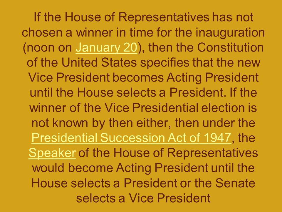 If the House of Representatives has not chosen a winner in time for the inauguration (noon on January 20), then the Constitution of the United States