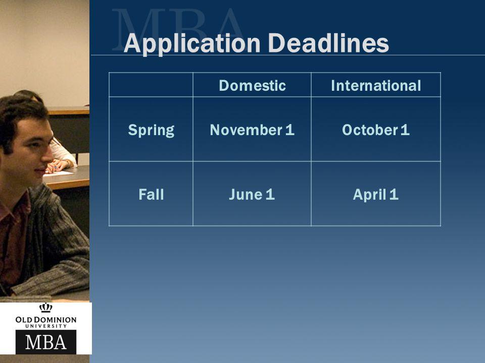 Application Deadlines DomesticInternational SpringNovember 1October 1 FallJune 1April 1