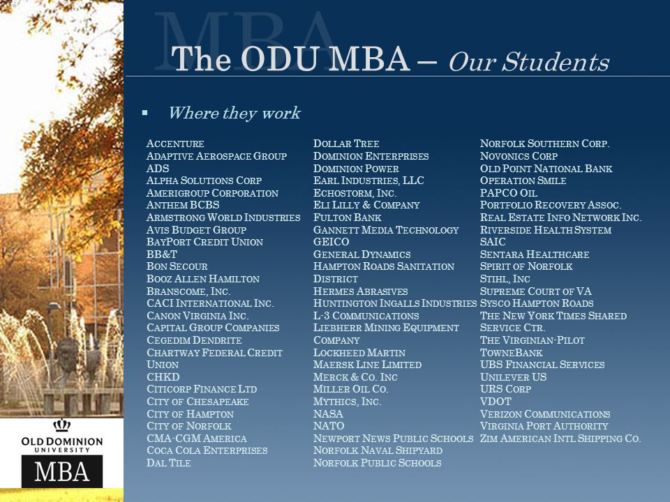 The ODU MBA – Our Students  Where they work A CCENTURE A DAPTIVE A EROSPACE G ROUP ADS A LPHA S OLUTIONS C ORP A MERIGROUP C ORPORATION A NTHEM BCBS A RMSTRONG W ORLD I NDUSTRIES A VIS B UDGET G ROUP B AY P ORT C REDIT U NION BB&T B ON S ECOUR B OOZ A LLEN H AMILTON B RANSCOME, I NC.