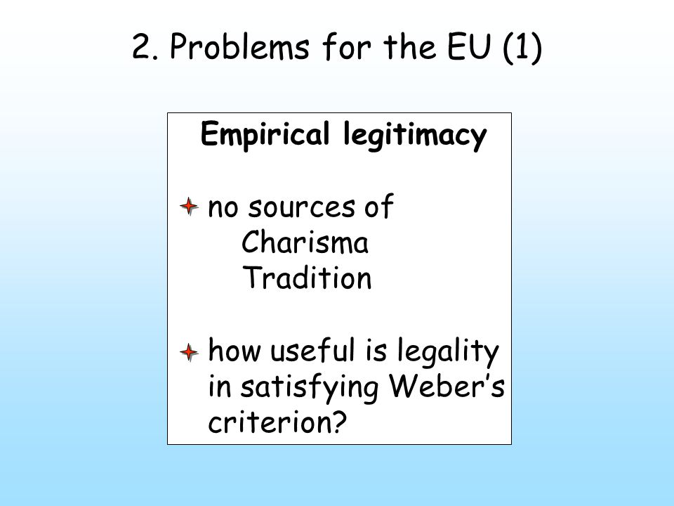 2. Problems for the EU (1) Empirical legitimacy no sources of Charisma Tradition how useful is legality in satisfying Weber's criterion?