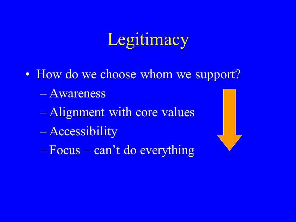 Legitimacy Process of Justification Need/cause is deemed legitimate and appropriate for the society.