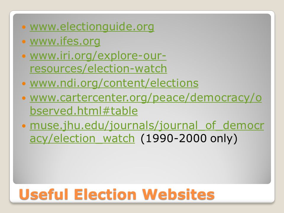 Useful Election Websites www.electionguide.org www.ifes.org www.iri.org/explore-our- resources/election-watch www.iri.org/explore-our- resources/election-watch www.ndi.org/content/elections www.cartercenter.org/peace/democracy/o bserved.html#table www.cartercenter.org/peace/democracy/o bserved.html#table muse.jhu.edu/journals/journal_of_democr acy/election_watch (1990-2000 only) muse.jhu.edu/journals/journal_of_democr acy/election_watch