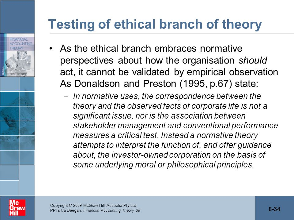 8-34 Copyright  2009 McGraw-Hill Australia Pty Ltd PPTs t/a Deegan, Financial Accounting Theory 3e Testing of ethical branch of theory As the ethical