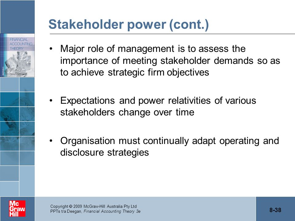 8-38 Copyright  2009 McGraw-Hill Australia Pty Ltd PPTs t/a Deegan, Financial Accounting Theory 3e Stakeholder power (cont.) Major role of management
