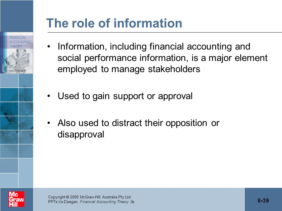 8-39 Copyright  2009 McGraw-Hill Australia Pty Ltd PPTs t/a Deegan, Financial Accounting Theory 3e The role of information Information, including fin