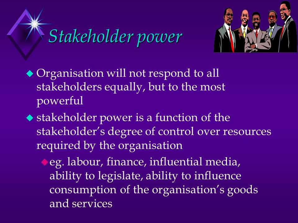 Stakeholder power u Organisation will not respond to all stakeholders equally, but to the most powerful u stakeholder power is a function of the stake